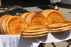 the typical round breads, in the bazaar