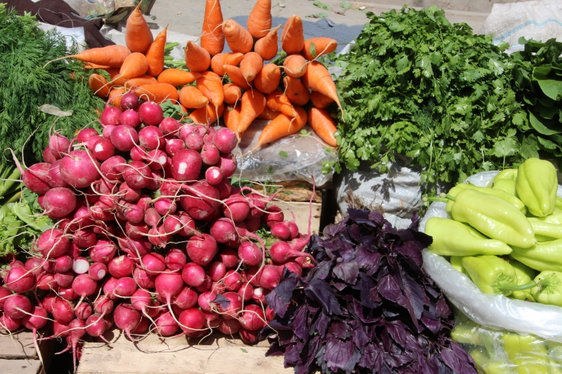 colourful combination of veggies in the bazaar