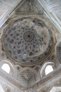 ceiling of a mausoleum in the Dorut-Tivolat madrasse, Shakhrisabz