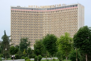 the monstrous Hotel Uzbekistan, perhaps tallest building in town