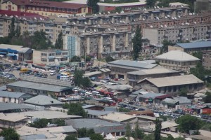 view of the market and the bus station, from Solomon's Throne