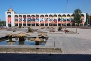 one side of Ala-Too Square, decorated with Victory Day propaganda