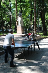with multiple table tennis tables for entertainment of the masses