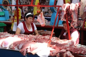 one of the many meat stall in the Zellyony Bazaar