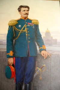 a portrait of the explorer-spy Nicolai Przhevalsky in the museum named after him