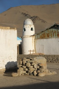 one of the two minarets of the tiny mosque in Karakul