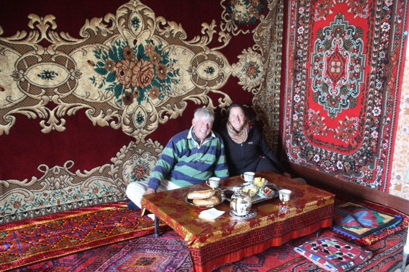 inside, all colourful carpets and felts, and a welcoming tea with bread and biscuits