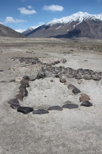 mysterious geoglyphs on a valley floor in the High Pamirs