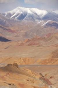 the view from the 4655 m Akbaital Pass, the highest point of the Pamir Highway