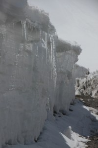 where the ice has been pushed away, icicles have developed