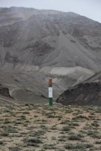 Tajik border marker at the Afghan frontier