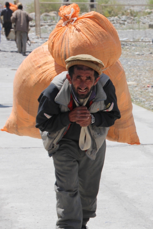 trader mobilising his goods for the Afghan market at Ishkashim