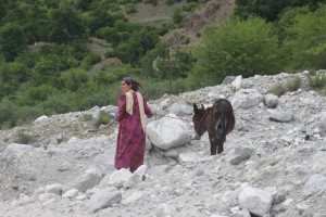 a woman walking her donkey