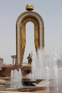 Dushanbe's most ostentatious monument, the statue of Ismoili Somini