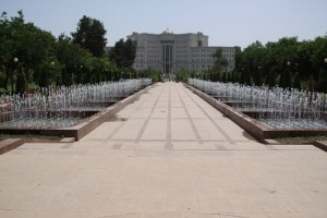 another exorbitant Dushanbe building, along the central park with its multiple fountains