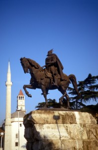 statue of Skanderbeg in Tirana
