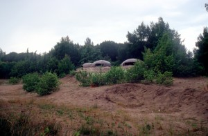a group of bunkers in the Divjake-Karavasta National Park