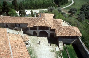 view of the courtyard, from the bell tower