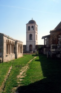 the monastery's courtyard