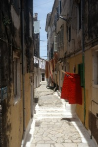 small alley in Kerkira, Corfu's main townjust opposite the Albanian south coast