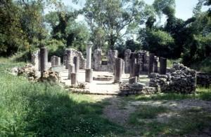 early Christian church ruins with a mosaic floor