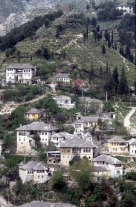 houses have been built against the slope