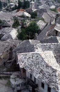 slate roofs hide the many stairs in between the buildings