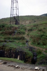 crude oil flowing off a slope, near Ballsh