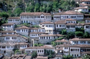 the characteristic white and red houser of Berat