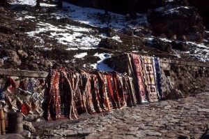Albanian carpets for sale along the access road to the castle