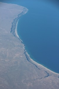 the Caspian sea shore, from the plane
