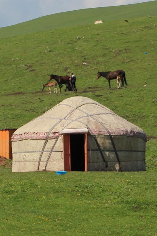 een yurt op de zomer weides in Kirgizie