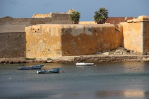 Trapani coast line, with small boats moored