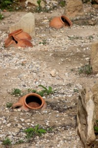 urns in the Monzi cemetery