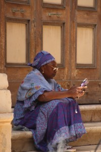 a woman with matching smartphone