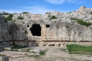 rock tombs above the theatre