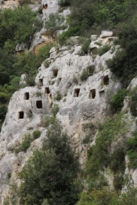 the rock tombs of Pantalica, high up the valley wall