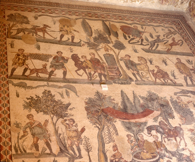impressive hunting scene covering the floor of an entire room