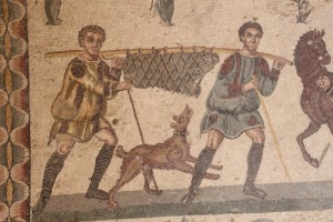detail of the hunting scene, men carrying a wild boar