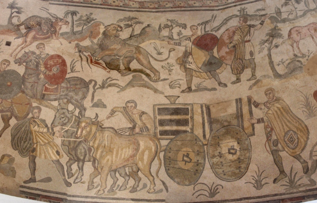 part of a compilation of another scene with a cart and hunting men and animals