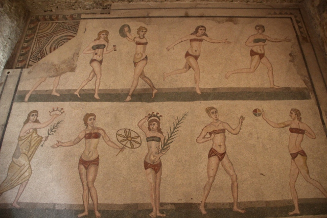 perhaps the most famous of all mosaic, the Bikini Girls, in fact depicting sports women