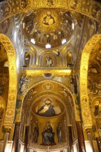 the inside of the Cappella Palatina