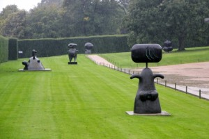 the outside garden with some of the Miro sculptures