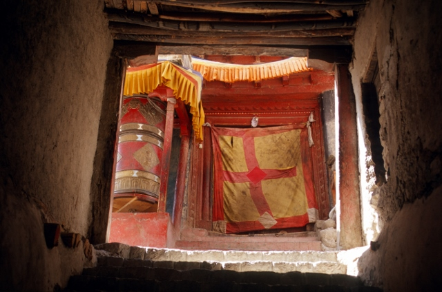 prayer wheels in one of the monasteries