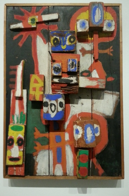 """""""questioning children"""", a collage of found objects and gouache on wood (1948)"""