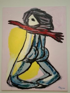 """""""standing nude"""" (2000), with oil and acrylic on canvas"""