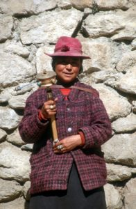 a woman at the Sera monastery