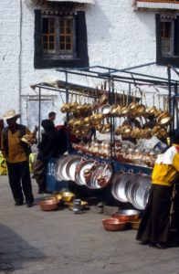 copperware stall outside the Johkang temple