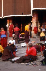 pilgrims inside the temple