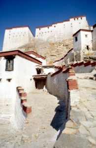 at the base of Gyantse fort